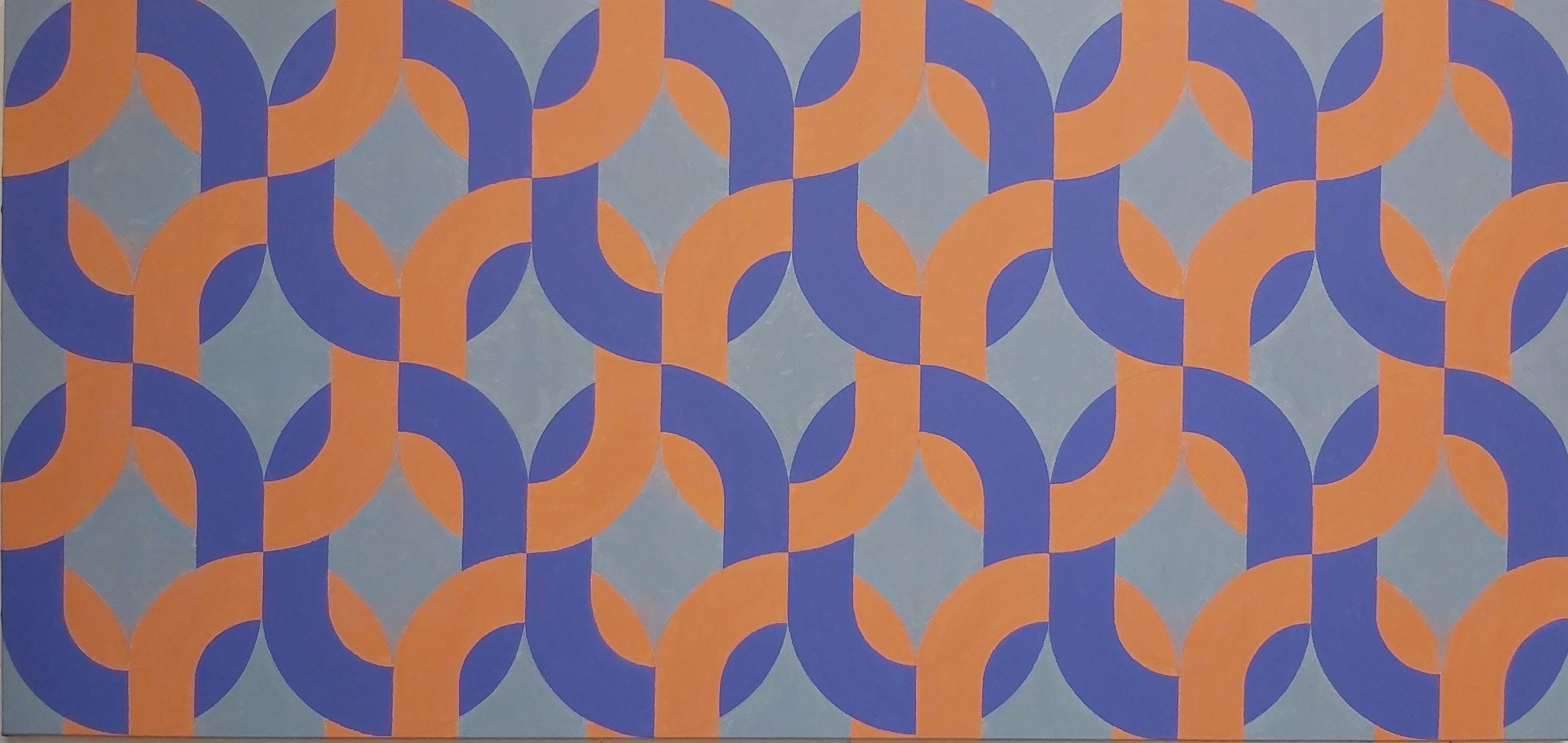 Silsila (Orange Purple) 2020 Acrylic on Canvas 86 x 181 cm