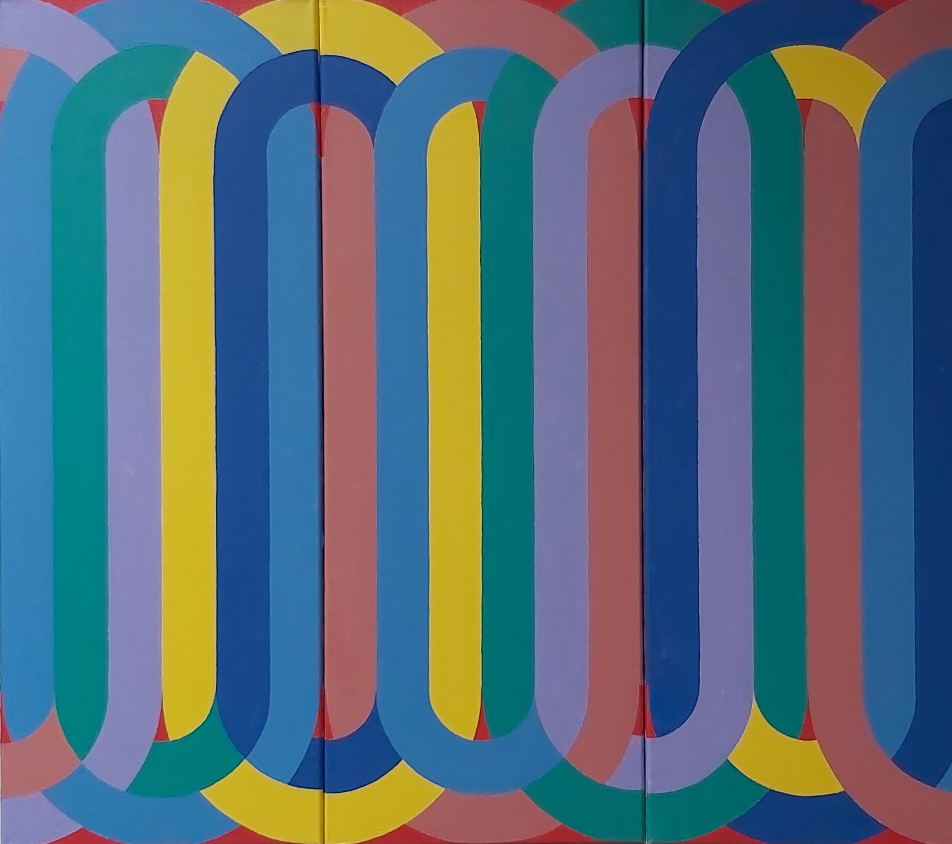 Silsila (Triptych) 2020 Acrylic on Canvas 80 x 30 cm x 3